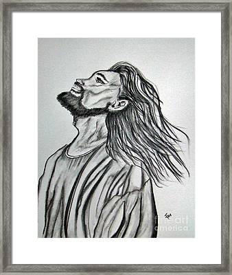 Jesus Christ In Graphite Framed Print by Janice Rae Pariza