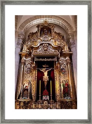 Jesus Christ On The Cross Reredos In Seville Cathedral Framed Print