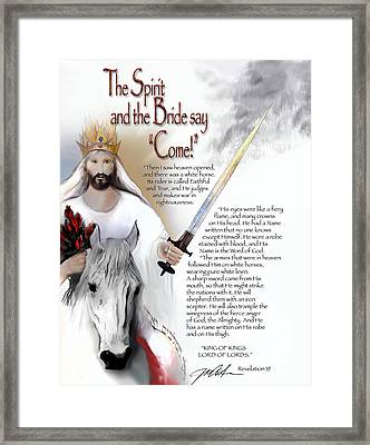 Jesus Comes With Roses Framed Print