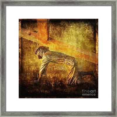 Jesus Falls Again Via Dolorosa 7 Framed Print by Lianne Schneider