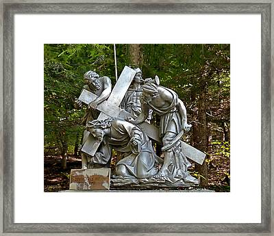 Jesus Falls The First Time Framed Print by Terry Reynoldson