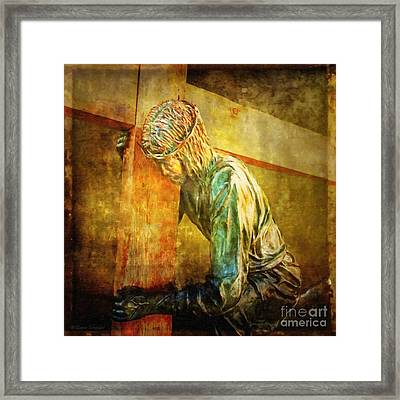Jesus Falls Via Dolorosa 3 Framed Print by Lianne Schneider