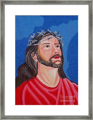 Jesus Hand Embroidery Framed Print