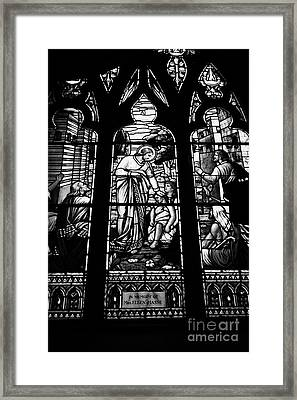 jesus healing the stick stained glass window in holy rosary cathedral Vancouver BC Canada Framed Print by Joe Fox