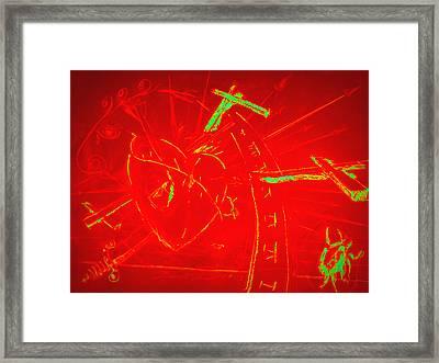 Jesus Heart Series - Flaming Heart Framed Print by David De Los Angeles