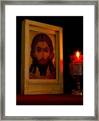 Jesus Icon Not Made With Hands Framed Print by Richard Singleton