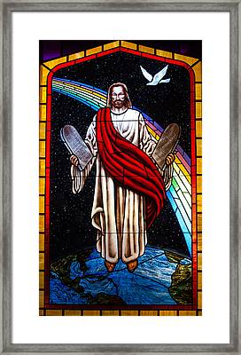 Framed Print featuring the photograph Jesus In Stain Glass by Randy Sylvia