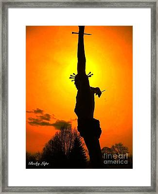 Jesus In Sunset 1 Hope Framed Print by Becky Lupe