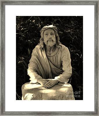Jesus In The Garden Framed Print by Bob Sample