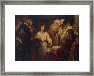 Jesus In The Temple Framed Print