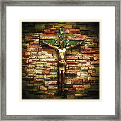Jesus Is His Name Cream Border Framed Print
