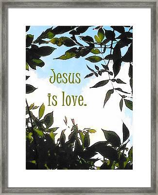 Jesus Is Love Framed Print by Alison Breskin