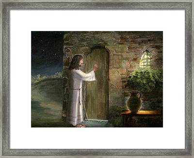 Jesus Knocking At The Door Framed Print by Cecilia Brendel