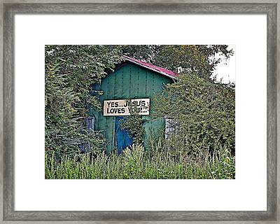 Framed Print featuring the photograph Jesus Loves You by Linda Brown