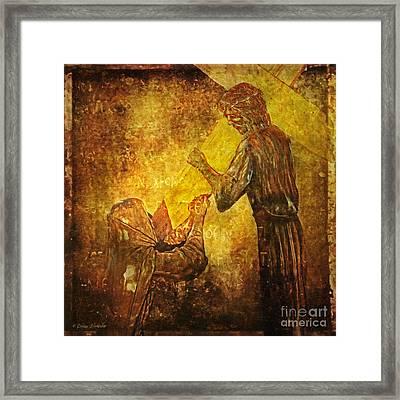 Jesus Meets His Mother Via Dolorosa 4  Framed Print by Lianne Schneider