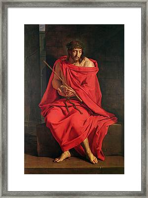 Jesus Mocked Oil On Canvas Framed Print by Philippe de Champaigne