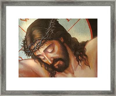 Jesus On The Cross Variant 2 Framed Print by Zorina Baldescu