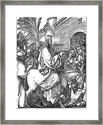 Jesus On The Donkey Palm Sunday Etching Framed Print by