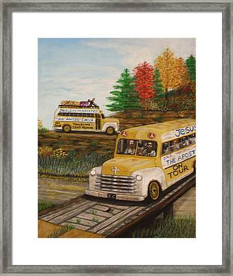 Jesus On Tour Framed Print by Larry Lamb