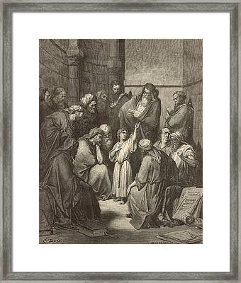 Jesus Questioning The Doctors Framed Print by Antique Engravings