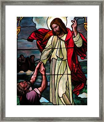 Jesus Rescues Peter From The Sea Framed Print