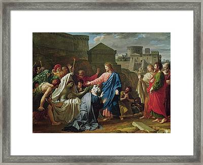 Jesus Resurrecting The Son Of The Widow Of Naim Oil On Canvas Framed Print