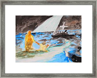 Jesus Saving Peter - Painting Framed Print