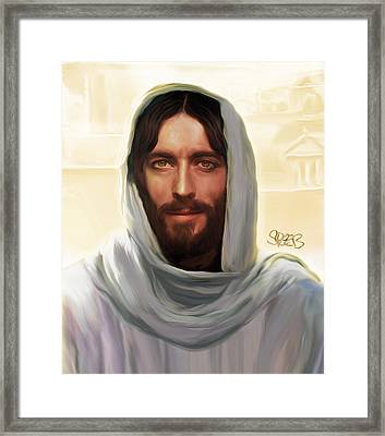 Jesus Smiling Framed Print by Mark Spears