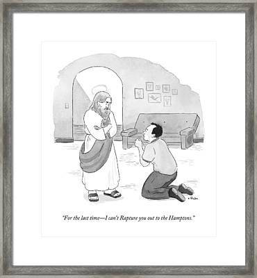 Jesus Speaks To A Pleading And Begging Man Framed Print