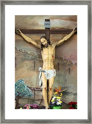 Jesus Statue At Latin Church In Taybeh Framed Print by Munir Alawi