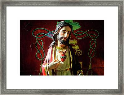 Jesus Statue Of The Interior Framed Print by Michael Runkel