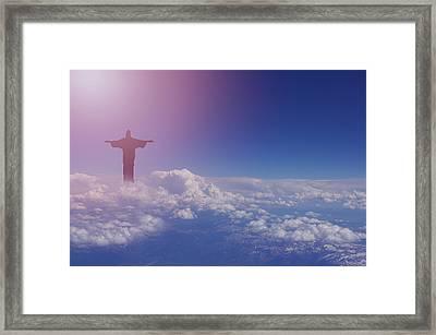 Jesus Walking On Clouds Framed Print