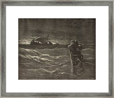 Jesus Walking On The Water Framed Print by Antique Engravings