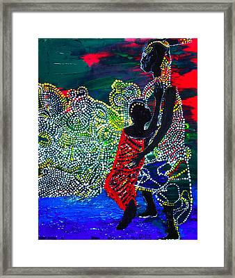 Framed Print featuring the painting Jesus Walking On Water by Gloria Ssali