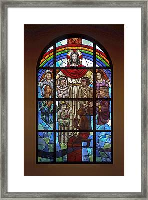 Jesus With Children Window Framed Print by Sally Weigand