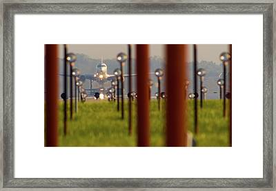 Jet Airplane Taking Off From Detroit Framed Print