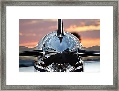 Airplane At Sunset Framed Print