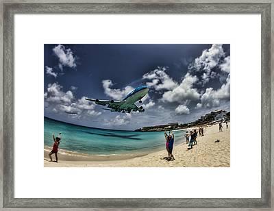 Jet Landing Over Maho Beach Framed Print