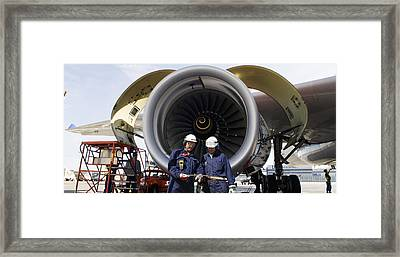 Jet Engine And Air Mechanics Framed Print by Christian Lagereek
