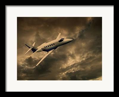 Passenger Plane Mixed Media Framed Prints