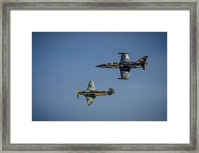 Framed Print featuring the photograph Jet Vs Plane by Bradley Clay