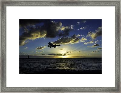 jetBlue landing at St. Maarten Framed Print