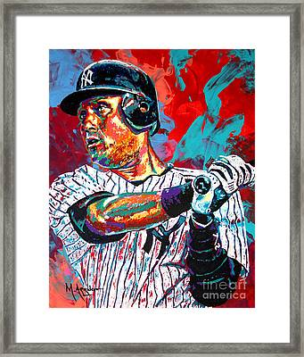 Jeter At Bat Framed Print by Maria Arango