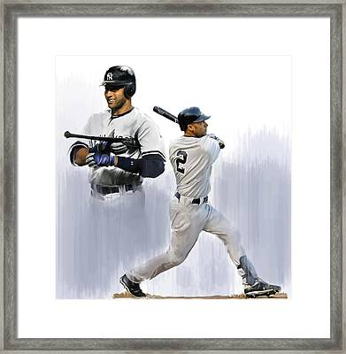 Jeter V Derek Jeter Framed Print by Iconic Images Art Gallery David Pucciarelli