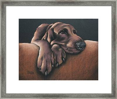 Framed Print featuring the pastel Jethro by Cynthia House