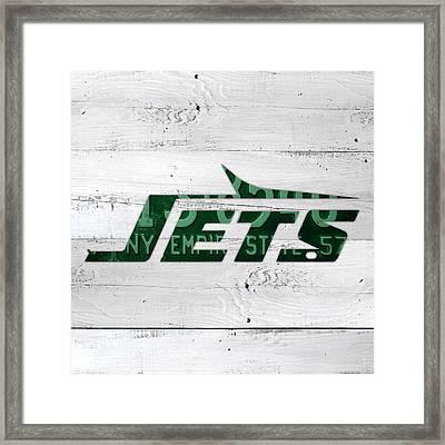 Jets Football Team Retro Logo New York License Plate Art Framed Print by Design Turnpike