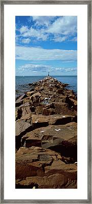 Jetty A Sea, Montauk Point, Montauk Framed Print by Panoramic Images
