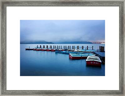 Jetty At Sun Moon Lake Framed Print by Yew Kwang