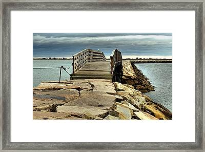 Jetty Bridge Framed Print by Janice Drew