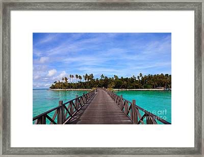 Jetty On Tropical Island Framed Print
